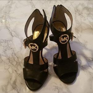 Michael Kors Caged Black Logo Heel Sandal 6
